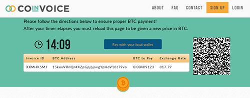 Coinvoice BTC invoice step 1